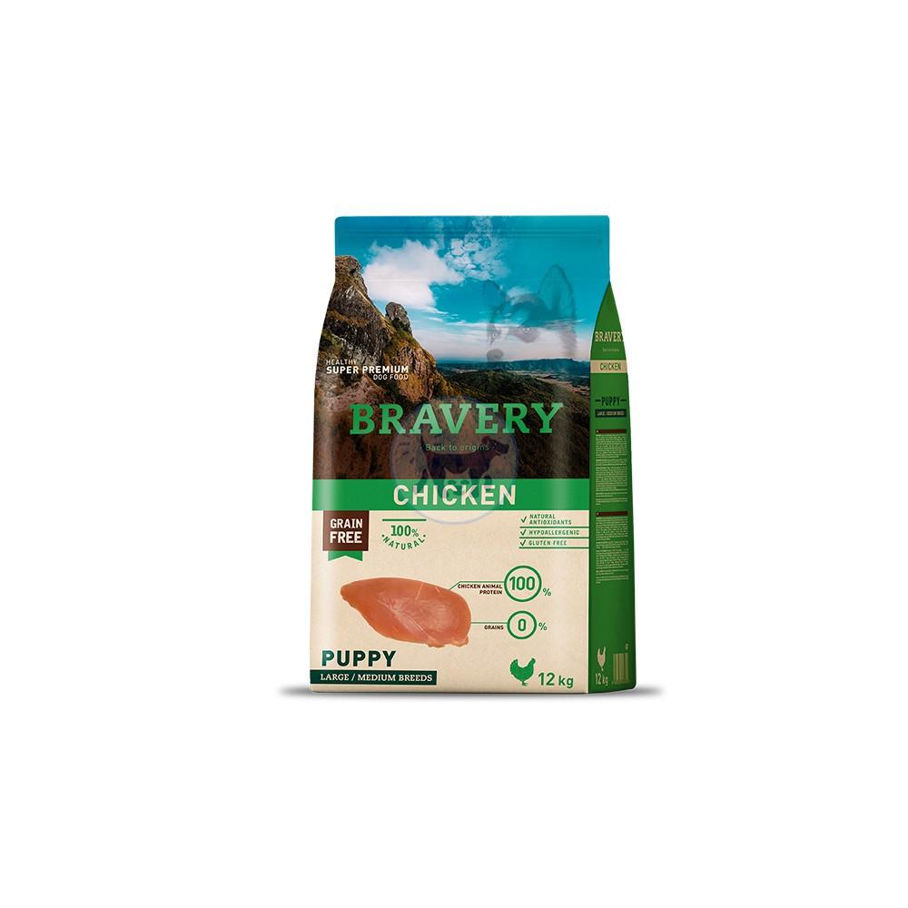 برافيري طعام جاف لجراء الكلاب خالي من الحبوب مع الدجاج