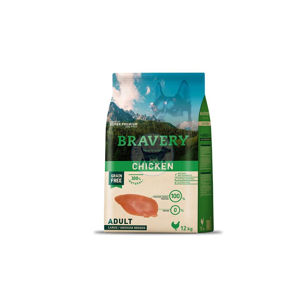برافيري طعام جاف للكلاب البالغة خالي من الحبوب مع الدجاج
