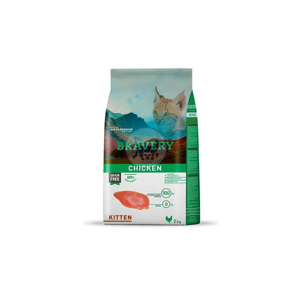 برافيري طعام جاف لصغار القطط خالي من الحبوب مع الدجاح 2 كجم