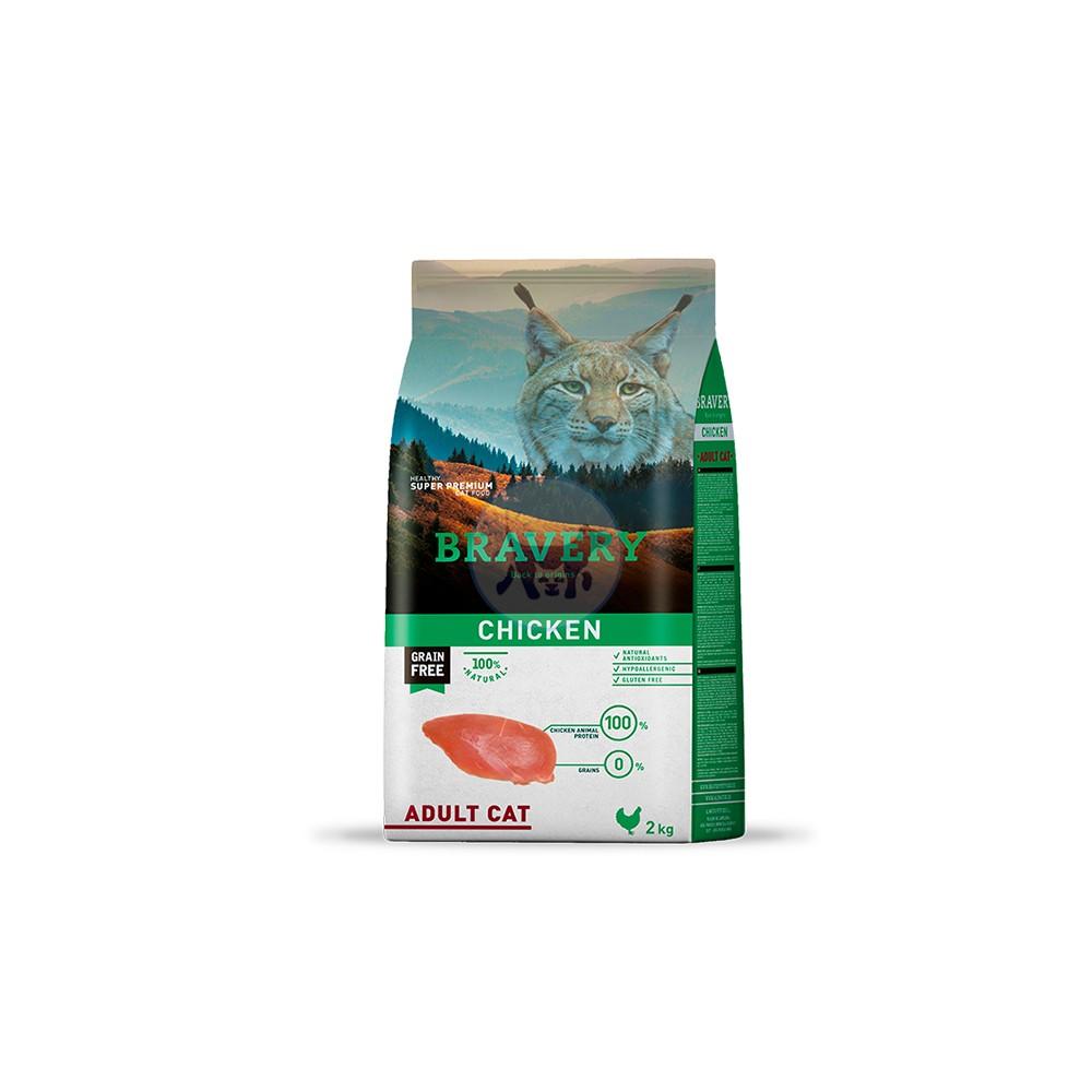 برافيري طعام قطط جاف خالي من الحبوب مع الدجاح