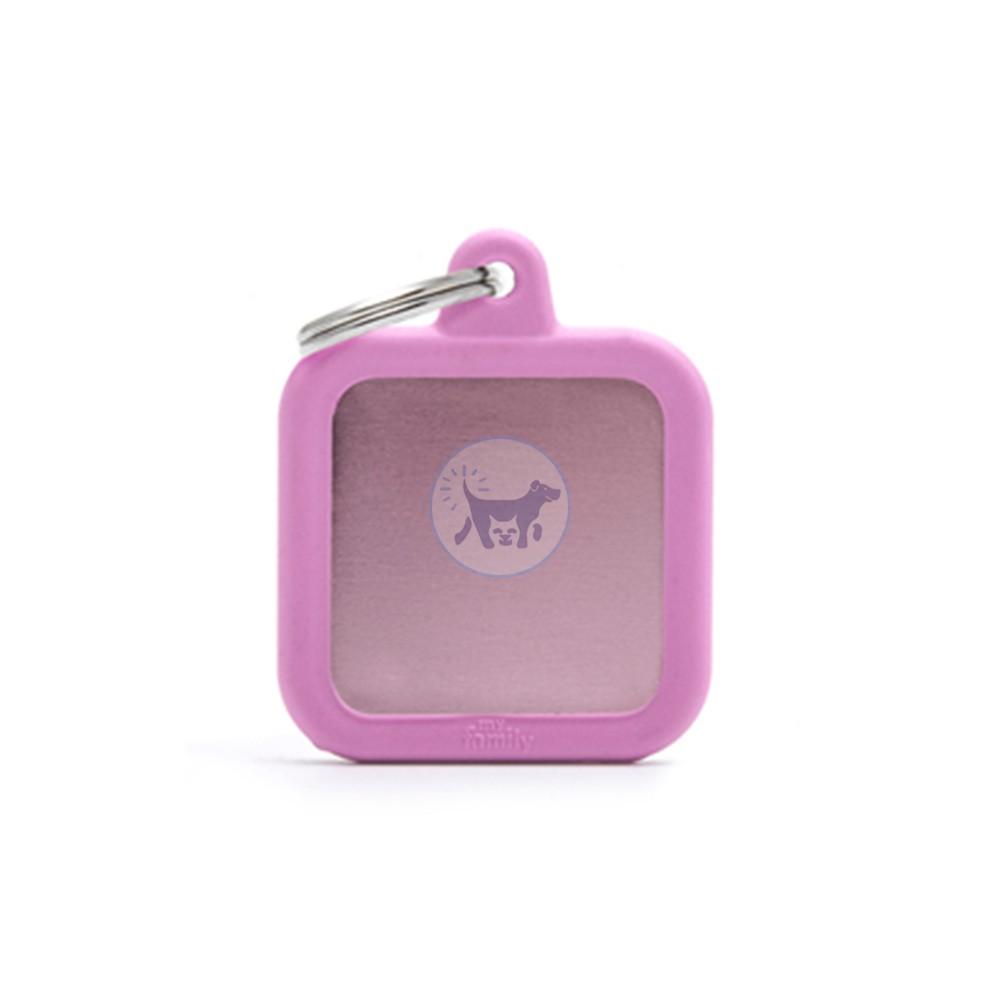 ماي فاميلي قلادة مربعة مع المطاط الوردي