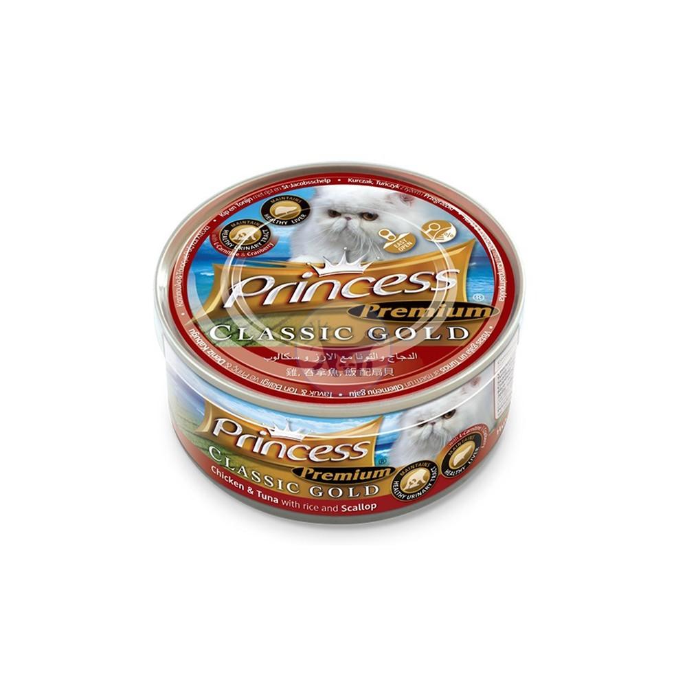 برنسيس طعام قطط رطب دجاج وتونة بالارز والاسكالوب و التوت البري  170 جرام