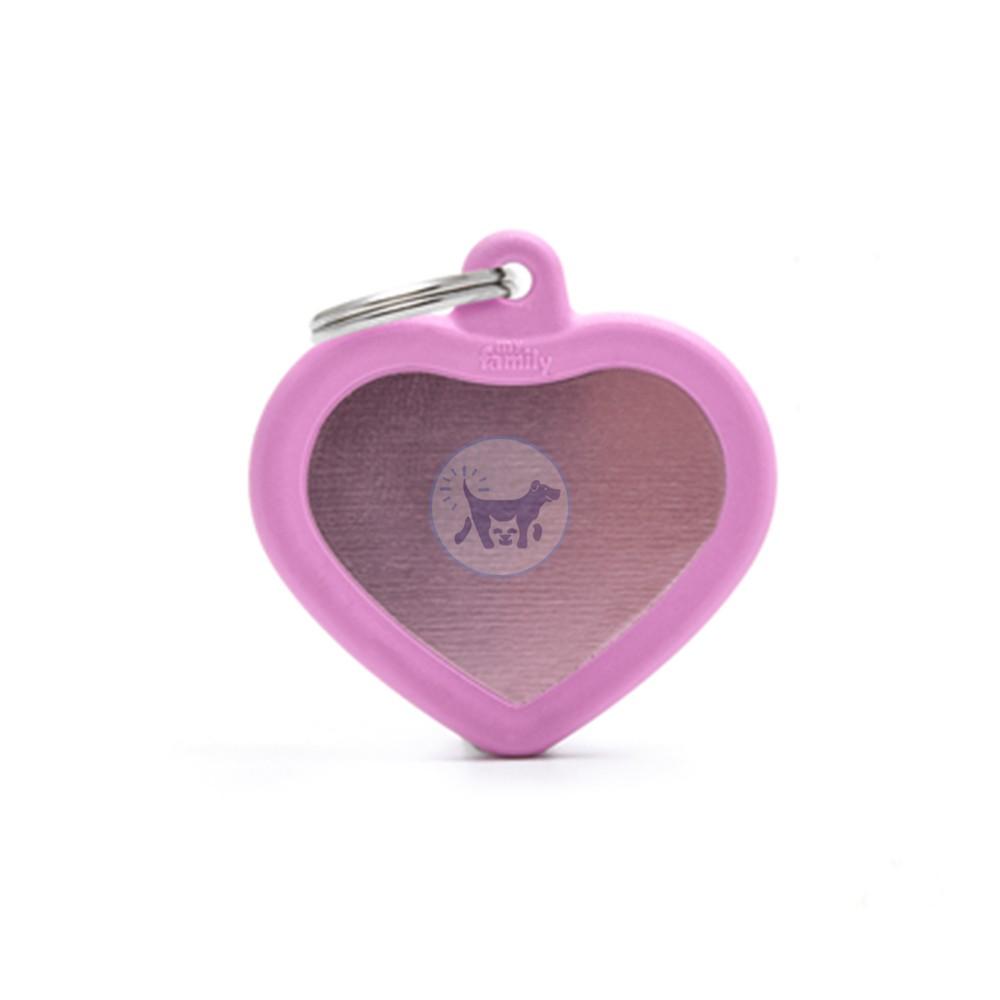 ماي فاميلي قلادة قلب كبير مع المطاط الزهري