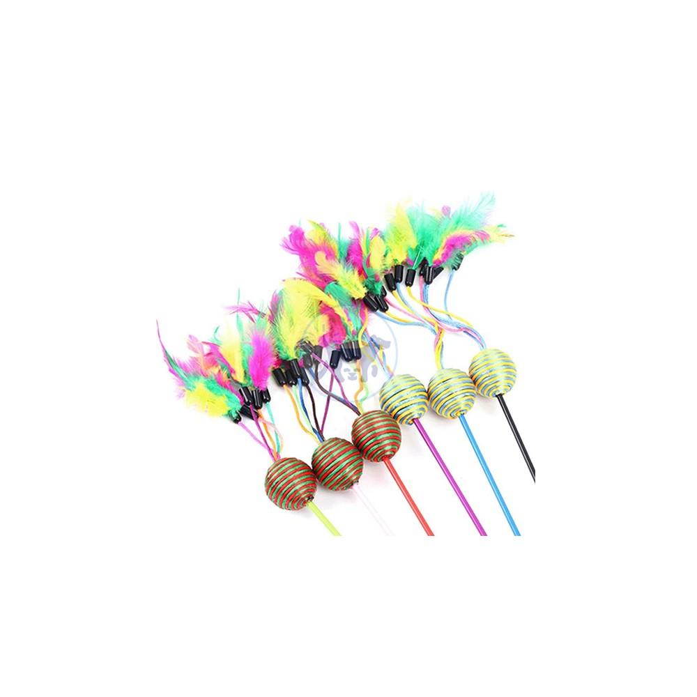 سنارة قطط مع كرة مفرغة مع الريش × 1