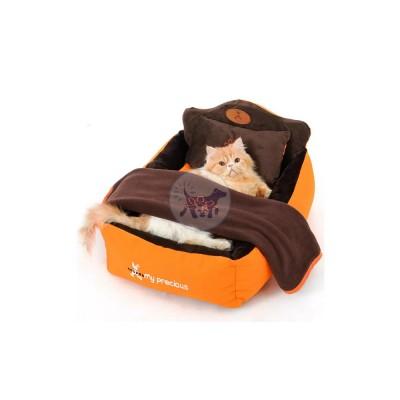 سرير قطط وكلاب مع وسادة وبطانية