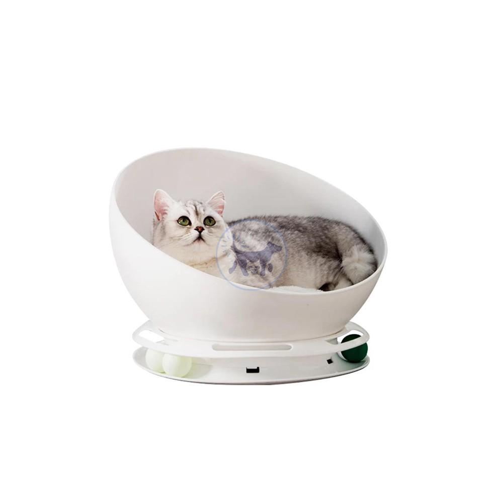 سرير نصف كروي مع لعبة مستديرة للقطط